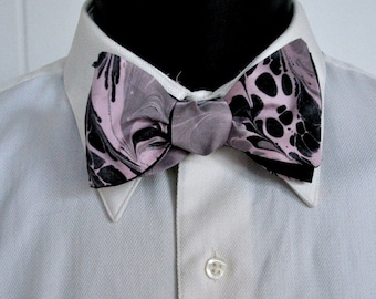 Extra Large Men's Bow Tie with Sharkskin Grey and Black on Pink Satin Fabric Made in Asheville, NC MM#17-3