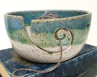 White - Green/Blue Wheel Thrown Yarn Bowl Beach Series- MADE TO ORDER