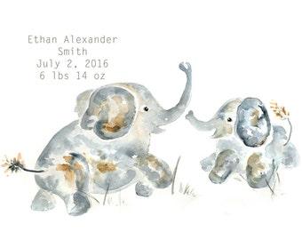 baby boy nursery, Nursery Art print, Elephant nursery, for new moms, Personalized baby gift, baby boy gift, custom nursery art