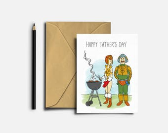 Father's Day Greeting Card, He-Man, Masters of the Universe, Teela, Man-at-Arms, Funny Card, Humorous Card