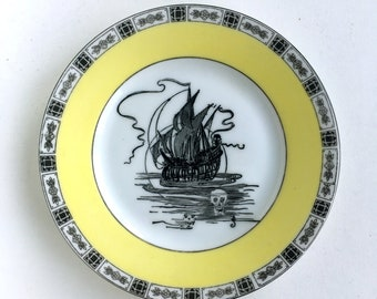 Vintage Nautical Ship Skull Plate Altered Art