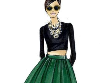 Fashion Illustration-Fashion Sketch-Stylist-Fashion Editor-Fashion Print-Fashion Design Print-Fashion Art-Illustration Print-Adele