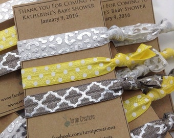 Baby Shower Favors Hair Ties Personalized Hair Ties Party Favors Hostess Gift Wedding Favors Birthday Favors