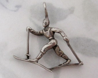 sterling silver 925 cross country skier charm - s32