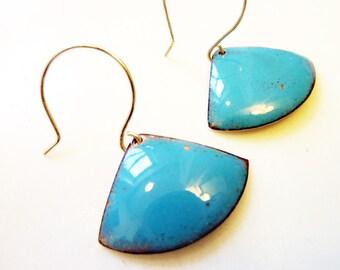 Enamel on Copper Earrings, Art Deco, Kiln-Fired Glass Enamel, Colorful Jewelry, Sterling Silver Ear Wires, Triangle Fan Earrings
