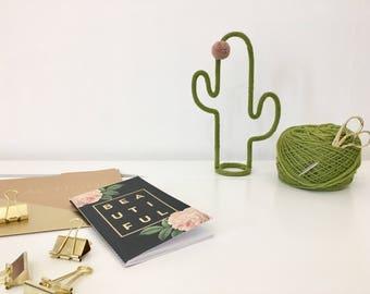 Cactus on foot, knitting wool, tassel, flower, handmade, trendy decoration
