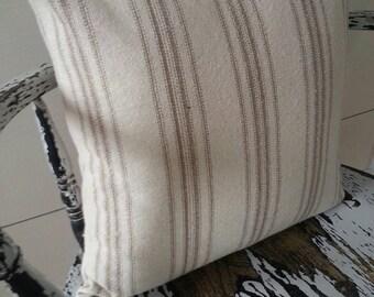 Pillow Cover | Grain Sack Pillow Cover | Tan Stripe Ticking Pillow Cover | Zipper Closure