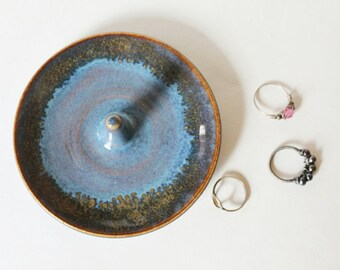 Rutile Blue Ring Holder, Ring dish, Wheel Thrown, Clay Pottery