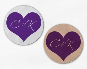 Initials in Heart Wedding Favor Stickers - Purple Custom White Or Kraft Round Labels for Bag Seals, Envelopes, Mason Jars (2006)
