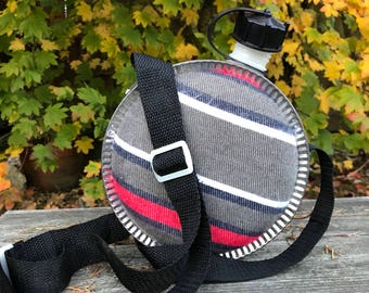Vintage Canteen with Upgraded Strap & Flannel Fabric, Cabin Rustic Decor