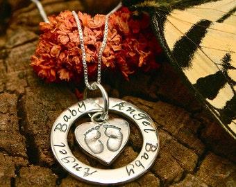 Baby Footprints Miscarriage Necklace, Baby Loss, Stillbirth Memorial Pendant