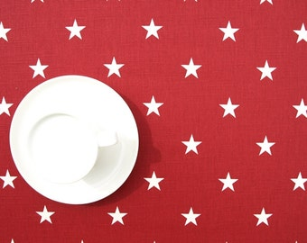 Tablecloth burgundy red white stars table cloth , table runner , napkins , pillows , curtains available, great GIFT