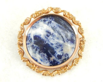 Antique Sodalite Gemstone Brooch, Victorian Era Ladies Pin or Brooch with Something Blue D85TUP