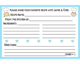 """100 Bridal Shower Recipe Cards   PERSONALIZED  - Couples Recipe Cards & Hearts - CUSTOM Colors  -  4x6"""" Size"""