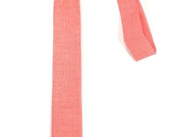 Coral  necktie - Wedding Mens Tie Skinny Necktie Vicente Minnelli - Laid-Back necktie