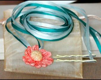 Silk Ribbon & Flower Necklace/ Hairband / Bow, Irish Crochet Orange and Yellow Daisy w/ Jade Green-Turquoise Ribbons