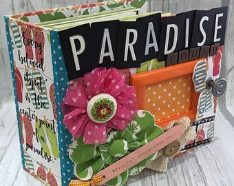 PARADISE FOUND All Occasion Scrapbook Scrapbooking Chipboard Mini Album