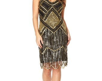 US0 UK4 AUS4 EU32 Edith Black Gold Vintage inspired 1920s Flapper Great Gatsby Beaded Charleston Downton Abbey Deco Bridesmaid Wedding Dress