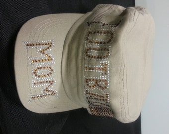 White Football MOM CAP
