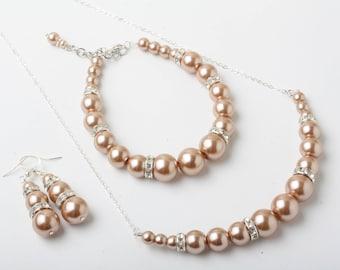 Champagne Pearl jewelry set, Champagne bridesmaid jewelry,  champagne necklace earrings, Champagne wedding Jewelry, bridesmaid jewelry set