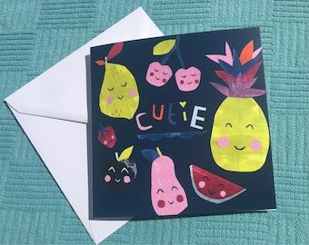 Cutie card, Blank Card, Fun card, Playful Card, Children's card, Fruit card, Collage, Bright, Character card