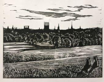 Oxford lino print