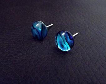 Abalone earrings, silver post earrings, paua shell earrings, blue stud earrings