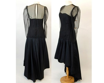 1980s dress high low dress black taffeta and lace illusion drop waist formal dress Size M/L