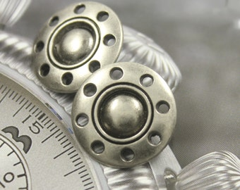Metal Buttons - Thread Wheel Metal Buttons , Gray Silver Color , Shank , 0.83 inch , 10 pcs