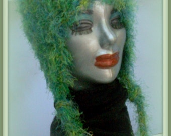 KNIT HAT WOMAN Ear Flap Hat Green Knitted Woman  Teens  Xmas Gift Warm Soft