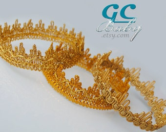 Gold Lace Crown - Birthday Party Accessory, Cake Smash, Photo Prop for Baby, Toddler, Girl, Boy, Pregnant Woman, Adult, Halloween Costume