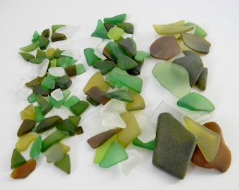 Trommelsteine Glas-Mix in Matt klar, grün und braun - 5 g Beutel - kleine, mittlere oder große Stücke