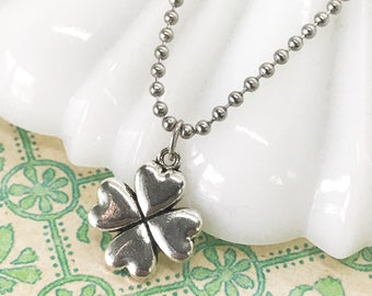 4 leaf clover necklace - silver clover - lucky clover jewelry - everyday necklace