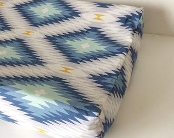 BOHO Crib Bedding - Fitted Crib Sheets / Aztec Boy Bedding / Changing Pad Cover / Mini Crib Sheet / Babyletto Mini Sheet / Blue Grey Nursery