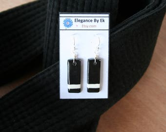 First Degree Black Belt Earrings with White stripes and Sterling Silver french earring wires! Celebrate your rank!