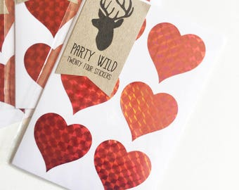 Heart Stickers Pk24 - Holographic Red