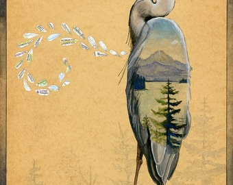 Great Blue Heron - Lake and Mountain Scene - 8x10+ - Watercolor Illustration