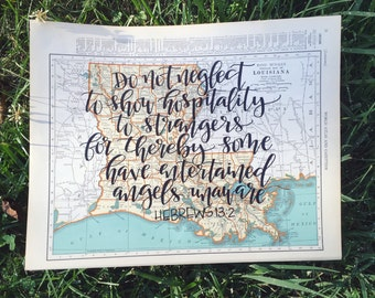 Kentucky Tennessee Louisiana | personalized calligraphy map | original vintage map | calligraphy map | custom calligraphy map