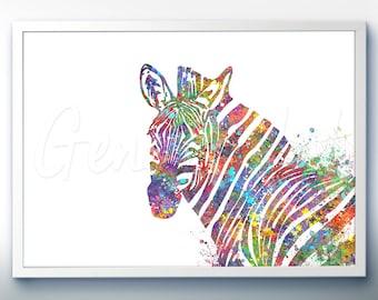 Zebra Watercolor Art Print  - Home Living - Zebra Painting - Zebra Poster - Wall Decor - Home Decor - House Warming Gift