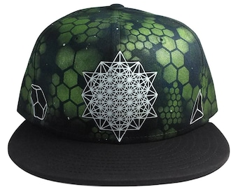 Building Blocks- SNAPBACK - Glow in the dark- hand printed and airbrushed hat