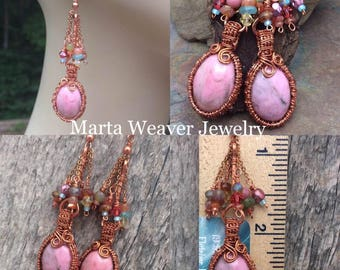 Pink Rhodonite Wire Wrap Earrings with Genuine Multi Colored Gemstone Dangles, Free Shipping,Anniversary, Birthday, Graduation, Mothers Day