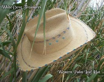 Cowboy Hat ~ Western Palm Leaf Hat ~ Cowgirl Hat ~ Rodeo Hat ~ Small ~ Santa Fe Style