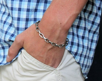 Mens Cable Chain Bracelet, Mens Sterling Silver Bracelet, Large Link