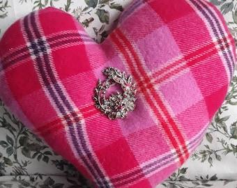 Pink Tartan Valentine Heart Pillow