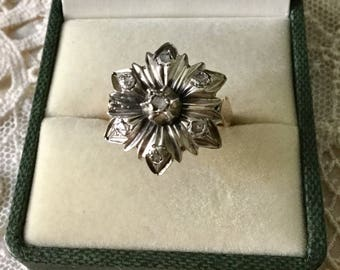 ANTIQUE c1700 authentic Huge Diamonds ring-Mine cut diamonds-Gold & silver-Rare carved - Beautiful Diamond antique from France