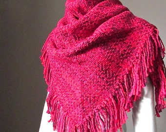 Basketweave Knit Oversized Blanket Scarf in Raspberry Winter Chunky Maxi Shawl wrap Triangle with Fringe Women scarves scarfs Gift for Woman