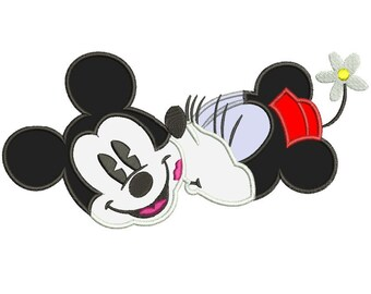 Minnie Kissing Mickey Applique Design 3 sizes instant download