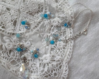 White Fresh Water Pearl Blue Agate, blue Czech Beads Necklace
