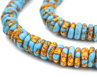 120 Blue & Yellow Fused Disk Recycled Glass Beads - Rondelle Recycled Glass Beads - African Glass Beads Ghana Glass Beads (RCY-DSK-MIX-955)