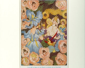 1915 Penny Ross Queen of the Flowers in Flowerland Vintage Book Illustration